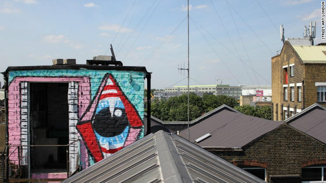 Hackney Wick rooftops. Sweet Toof and Paul insect can be seen in the foreground. Sweet Toof and Cylops in the distance. Paul Insect is most famous for his 2007 exhibition &quot;Bullion,&quot; which was snapped up by Damien Hirst before it opened.