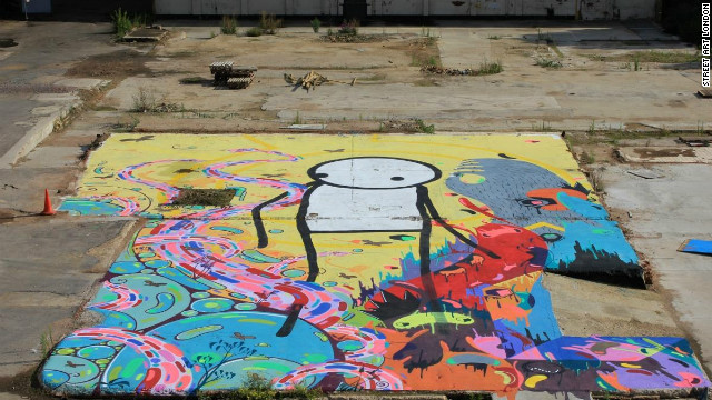 This collaborative piece between Stik, Milo Tchais and Prozak in Hackney Wick is now covered up by a hospitality tent.