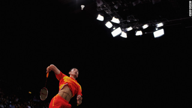 Biao Chai of China in action during a men's doubles badminton match against Denmark players Tuesday.