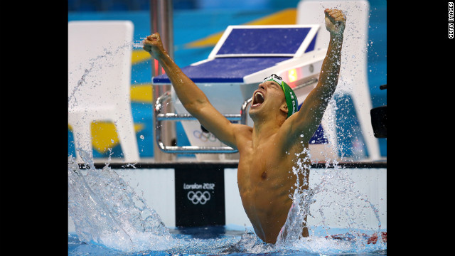 Chad Le Clos of South Africa celebrates after winning the gold in the men's 200-meter butterfly final.