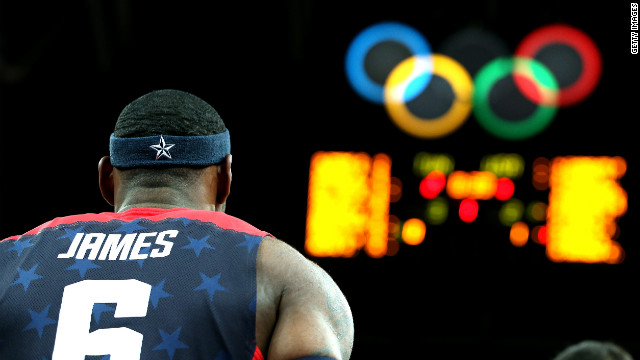 LeBron James of the United States looks on before the game against Tunisia.