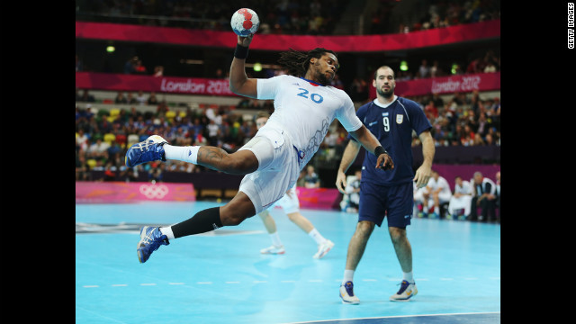 Cedric Sorhaindo of France shoots for goal during the men's handball preliminary match against Argentina.