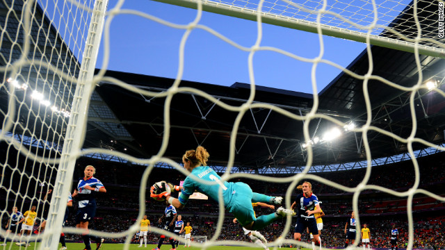 Karen Bardsley of Great Britain makes a save during the women's soccer match against Brazil.
