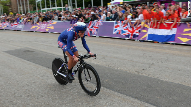 Armstrong pushes ahead Wednesday during the women's individual time trial road cycling event.