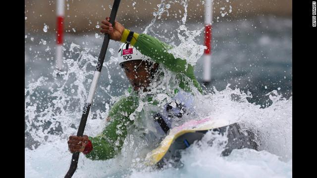 Benjamin Boukpeti of Togo competes in the men's kayak semifinal.