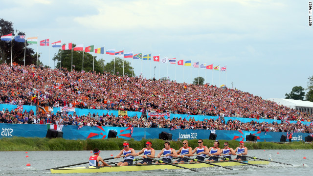 Great Britain's rowing team competes in the men's eight final.