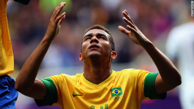 Danilo Luiz Da Silva of Brazil reacts after scoring against New Zealand during the first-round men's soccer match.
