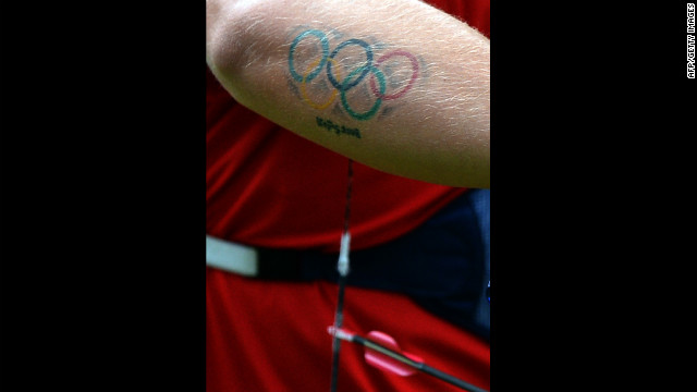 U.S. archer Brady Ellison has a tattoo of the Olympics rings on the arm.