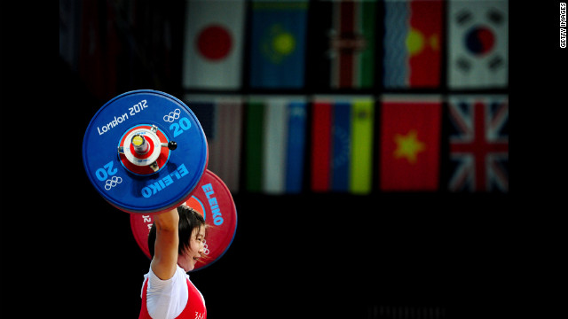 Jong Sim Rim of North Korea competes in the women's 69-kilogram weightlifting event.