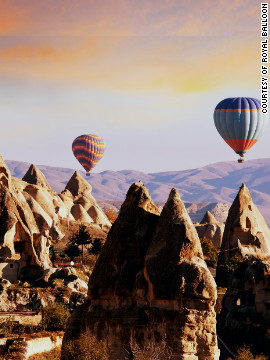 Those passengers who ford the rock formations by balloon may get the chance to see churches carved into cliffs up close.