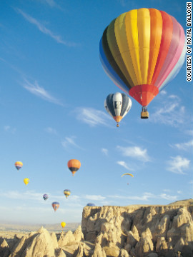 After feasting on an open buffet, patrons of Royal Balloon ascend 1,000 feet into the air and travel through the region's otherworldly rock formations.
