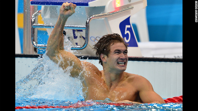American swimmer Nathan Adrian celebrates after winning the men's 100-meter freestyle final.