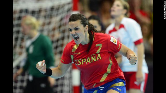 Spain's leftback Beatriz Fernandez Ibanez reacts after a goal during the women's preliminary Group A handball match against Denmark.