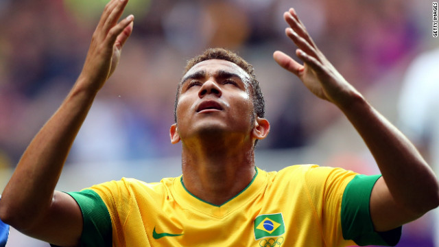 Midfielder Danilo reacts after scoring Brazil's opening goal against New Zealand at St James' Park in Newcastle.
