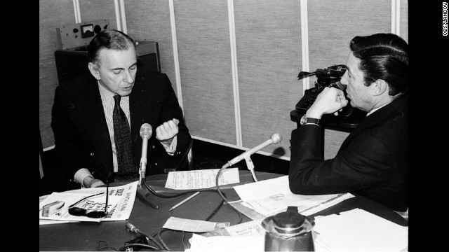 "Vidal with Mike Wallace in the CBS newsroom in 1978. Vidal would refer to himself as a once-famous novelist relegated to going on television because people ""seldom read anymore.""<br/><br/>"