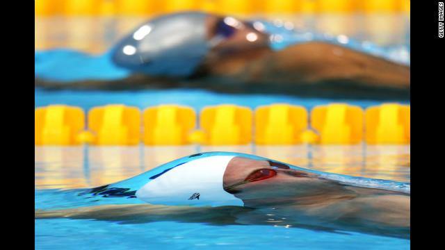 Sebastian Stoss of Austria competes in heat 1 of the men's 200-meter backstroke Wednesday.