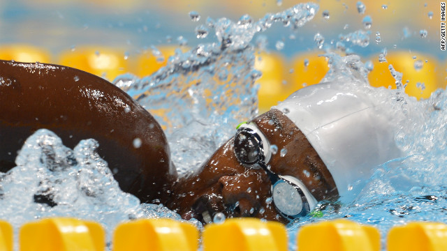 Mareme Faye of Senegal competes in the women's 100-meter freestyle heat Wednesday.