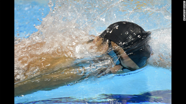 U.S. swimmer Michael Phelps competes in the men's 4x200-meter freestyle relay final.