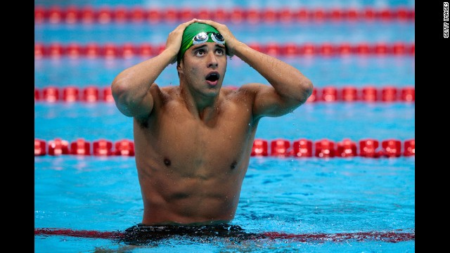Chad Le Clos of South Africa reacts after winning the gold in the men's 200-meter butterfly final.
