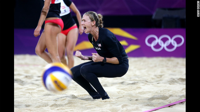 American Kerri Walsh reacts after a point during women's beach volleyball.