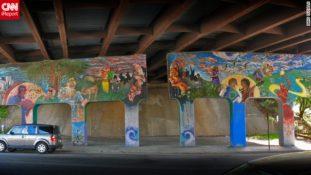 Street art spray painted under a bridge in &lt;a href='http://ireport.cnn.com/docs/DOC-795655'&gt;Asheville, North Carolina&lt;/a&gt;.