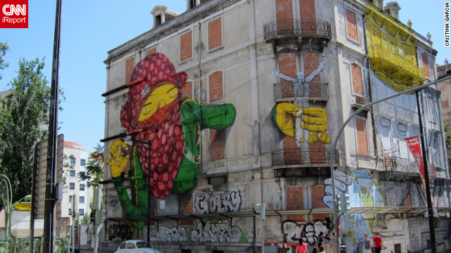 <a href='http://ireport.cnn.com/docs/DOC-782454'>iReporter Cristina Garcia from Lisbon, Portugal</a>, says the themes of street art vary from artist to artist, but some express economic and social issues in their art.