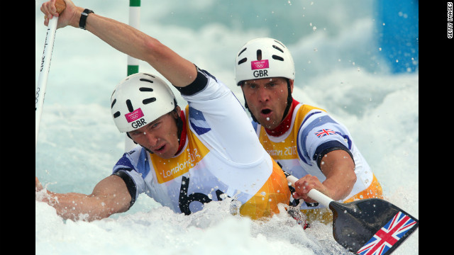 Britain's David Florence, left, and teammate Richard Hounslow compete in the men's canoe double semifinal.