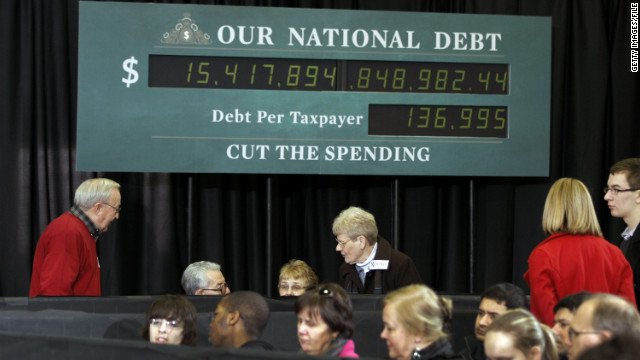 The national debt's count, pictured here on the national debt clock in February 2012, continues to climb.