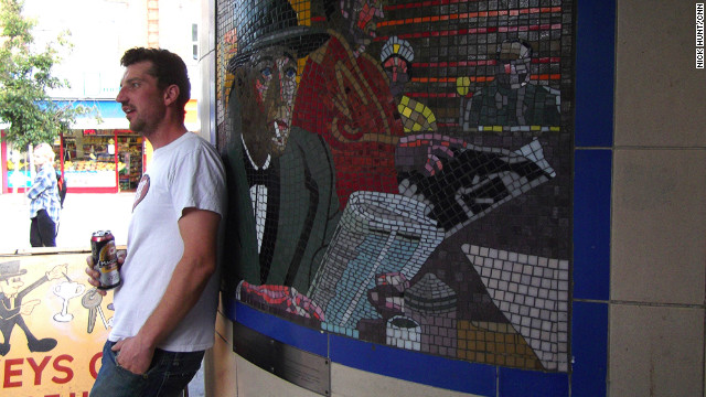 Leytonstone tube station in East London is decorated with mosaic murals featuring scenes from the life of director Alfred Hitchcock, who was born nearby, and his movies.