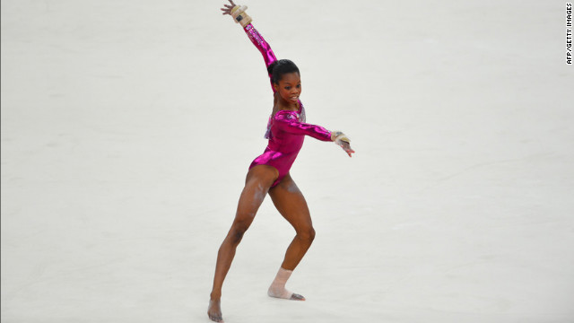 Gymnast Gabrielle Douglas performs in the floor exercise at the North Greenwich Arena.
