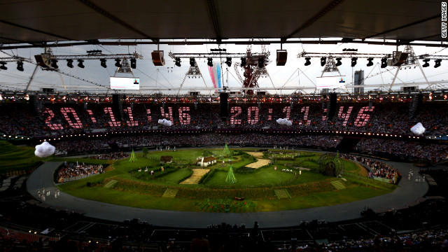 The countdown to the start of the opening ceremony is projected across the stands while the Royal Air Force aerobatic team, the Red Arrows, flies over the Olympic Stadium. The opening ceremony of the London 2012 Olympic Games was held on Friday, July 27. Check out photos from the closing ceremony.