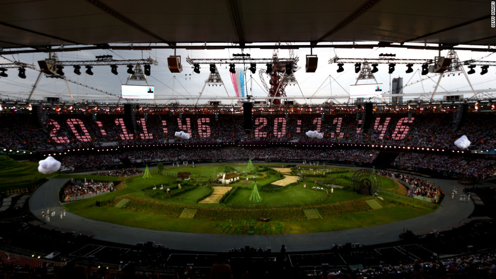The countdown to the start of the opening ceremony is projected across the stands while the Royal Air Force aerobatic team, the Red Arrows, flies over the Olympic Stadium. The opening ceremony of the London 2012 Olympic Games was held on Friday, July 27. Check out photos from the&lt;a href='http://www.cnn.com/2012/08/12/world/gallery/olympic-closing-ceremony/index.html' target='_blank'&gt; closing ceremony.&lt;/a&gt;
