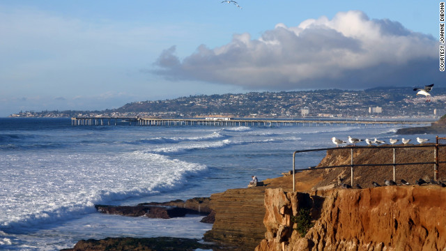 For summer air temperatures year-round head to San Diego, where you can gaze at the Pacific Ocean from Sunset Cliffs.