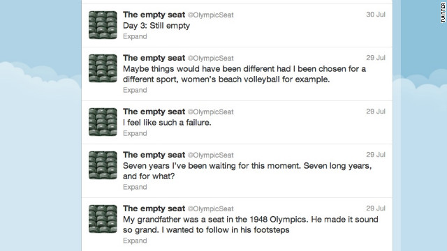 "This Twitter account spoofs the swaths of empty VIP seats that have been seen at Olympics venues in London. <a href='https://twitter.com/olympicSeat' target='_blank'>@OlympicSeat</a> threatened to quit tweeting Friday, hours after a spectator finally relieved them from their empty existence. ""SOMEONE SAT DOWN! They actually sat down on little old me!"" Followers: 21,010"