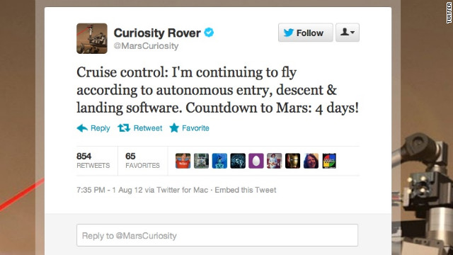 Some government agencies really do Twitter right. When NASA launched its newest Mars rover, Curiosity, its social media department took faithful astro-nuts along for the ride. Twitter waits with bated breath for first-person accounts of <a href='https://twitter.com/MarsCuriosity' target='_blank'>@MarsCuriosity</a>'s journey and its scheduled touchdown early Monday on the Red Planet. Followers: 142,205