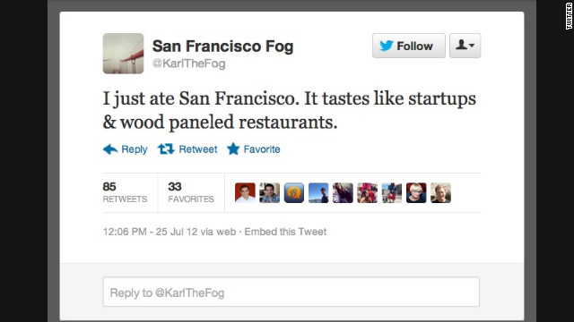 "As chilly fog in San Francisco, Karl knows what it's like to go unappreciated. While many bemoan his mass of damp air, <a href='https://twitter.com/karlTheFog' target='_blank'>@KarlTheFog</a> tweets in first-person about precipitation facts, how it feels when people complain about him, and which part of San Francisco he's ""eating"" at any given moment. Followers: 5,656"