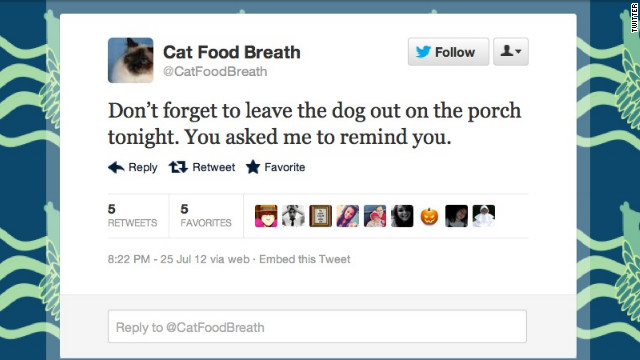 If you're not <a href='https://twitter.com/CatFoodBreath' target='_blank'>@CatFoodBreath</a>, you should feel bad about it. This (imaginary) snarky feline has a Burlington, Vermont, woman to thank for sharing its sardonic take on dogs, naps and food with the Twitterverse. Followers: 18,742