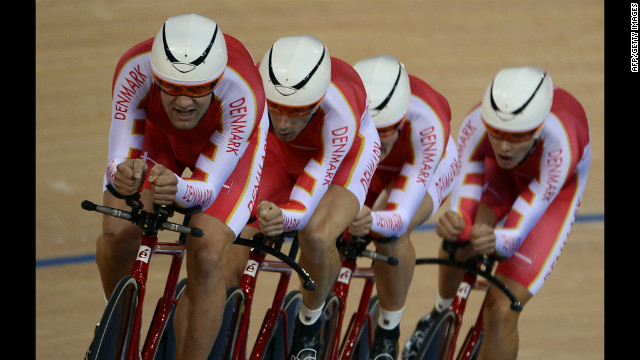 The Danish team competes during the men's 4000-meter team pursuit qualifying round of the track cycling event.