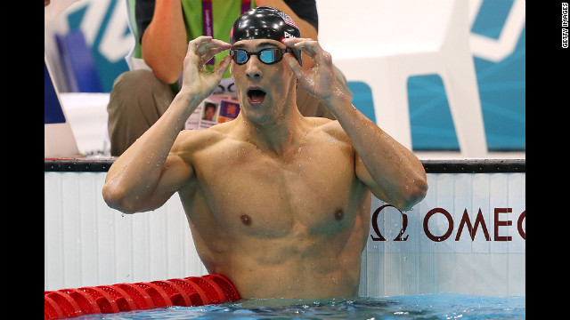 Phelps reacts to winning gold in the 200-meter Individual medley.