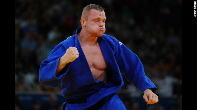 Dimitri Peters of Germany competes in the men's under 100-kilogram judo match.