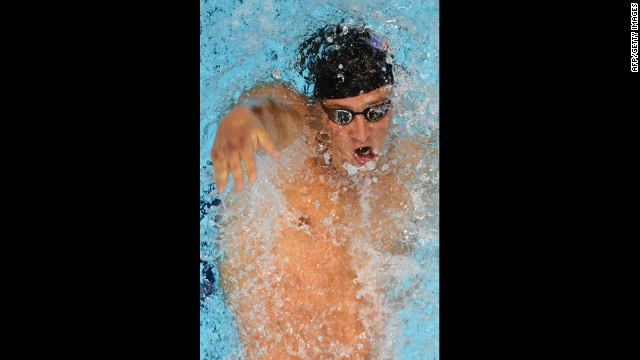 Ryan Lochte competes in the men's 200-meter backstroke final swimming event. Lochte finished with a bronze medal.