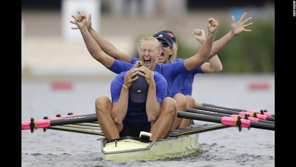 Yana Dementieva, foreground, Anastasiia Kozhenkova, Nataliya Dovgodko, and Kateryna Tarasenko of Ukraine celebrate their win after the women's rowing quadruple sculls final in Windsor, England, on Wednesday, August 1. Check out <a href='http://www.cnn.com/2012/07/31/worldsport/gallery/olympics-day-four/index.html' target='_blank'>Day 4 of competition</a> from Tuesday. The Games ran through August 12.