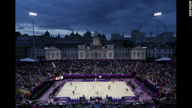A general view of the beach volleyball competition at Horse Guards Parade in London.