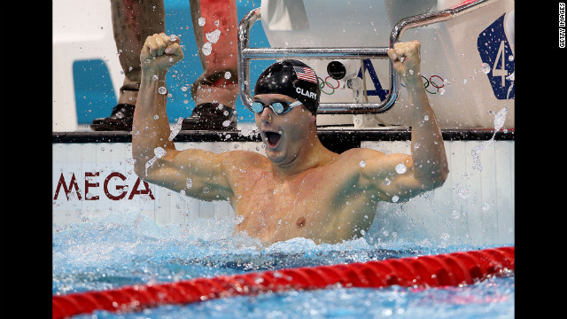 Tyler Clary reacts after winning the gold in the men's 200-meter backstroke final in London on Thursday, August 2.