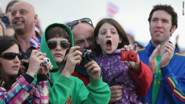 Fans take in the Olympic atmosphere on Day 7 at Eton Dorney, the rowing venue in Windsor, England.