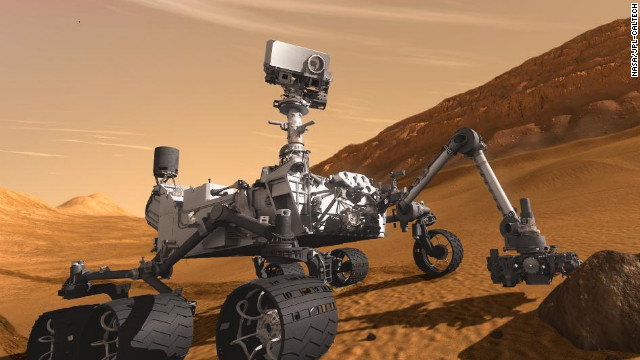 NASA's Mars Curiosity Rover, shown in this artist's concept, is scheduled to touch down on the planet on August 6.