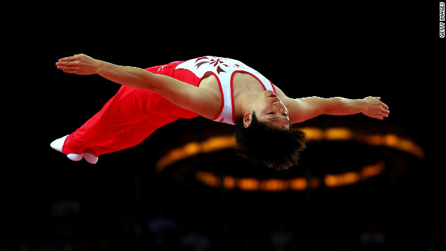 Japan's Masaki Ito competes in the men's trampoline event.