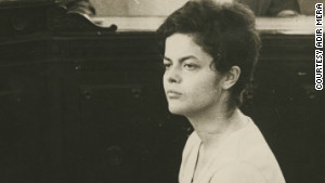 This photo from 1970 shows 22-year-old Dilma Rousseff being interrogated by a military tribunal in Rio de Janeiro.