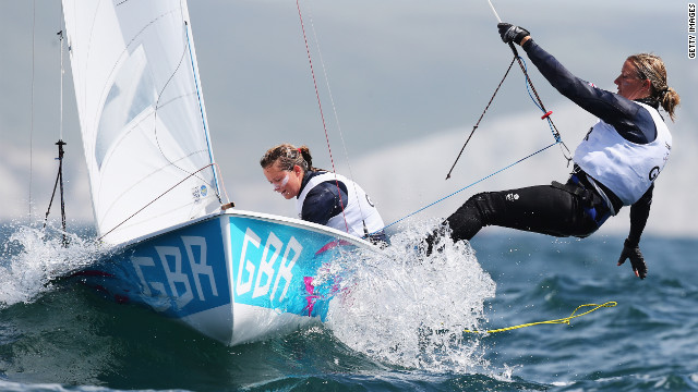 Britain's Hannah Mills, left, and Saskia Clark compete in the women's sailing 470 opening series.