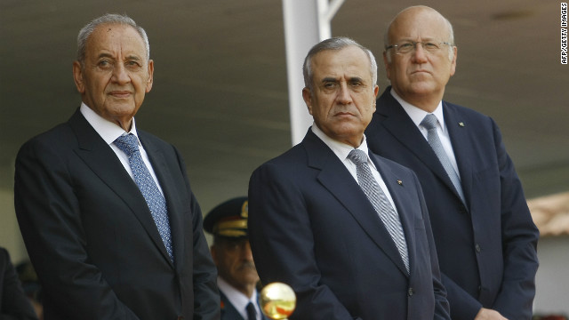 The Ta'if Accord, signed under the auspices of the Arab League in 1989, officially ended the civil war in 1990. To balance power among Lebanon's three main religious groups the presidency is reserved for a Maronite Christian, the prime minister is a Sunni Muslim and the speaker of parliament is always a Shia Muslim. Pictured are the current president Michel Suleiman, (center), prime minister Najib Mikati, (right) and speaker of the parliament Nabih Berri, (left).